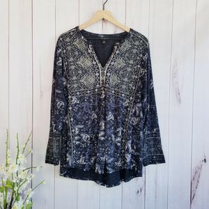 Lucky Brand Peasant Paisley Long Sleeve Top 1X